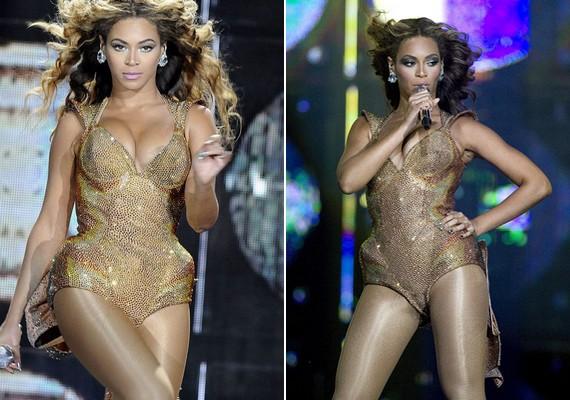 Beyoncé formás alakját igen furcsán adja vissza ez a ruha - a kerek csípőjét szélesnek, szögletesnek mutatja, és majd' kibuggyan, aminek nem kellene.