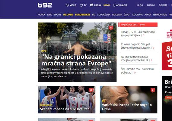 Ez a szerb B92 internetes kiadása, vezető hír volt még ma reggel is a tegnapi röszkei összecsapás. Félmeztelen, erőszakos menekült képe a címlapon. A cím David Milibandet, a Nemzetközi Menekültügyi Bizottság elnökét idézi, aki szerint Európa sötét oldalát mutatja meg mindaz, ami Röszkén és Horgoson tegnap történt.