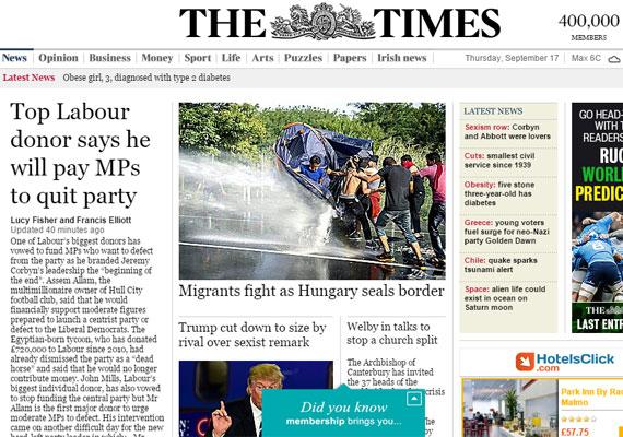 A brit The Times nyitó oldalán vezető hír a tegnapi összecsapás. Az olvasók sátrukkal védekező, vízágyú elől menekülő fiatalokkal szembesül először.