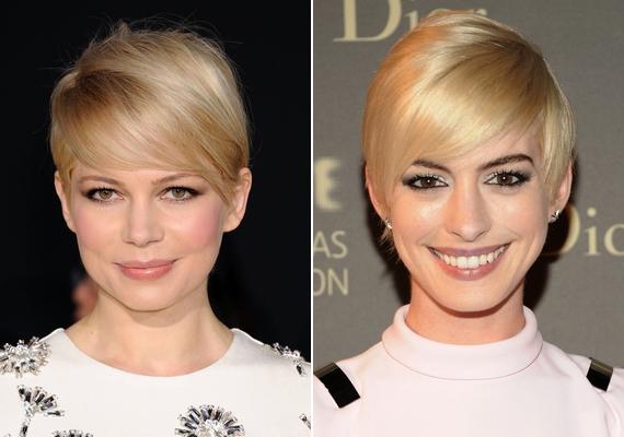 Különösen szőkében, de más színekben is nagyon divatos lesz a pixie frizura, amit Michelle Williams és Anne Hathaway is szívesen vágat magának.