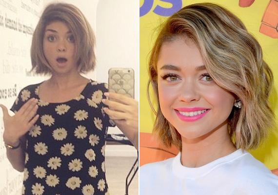 Sarah Hyland a múlt héten osztotta meg a bal oldali fotót, a hétvégén pedig a vörös szőnyegen is megmutatta az új frizurát a Kids' Choice Awardson.