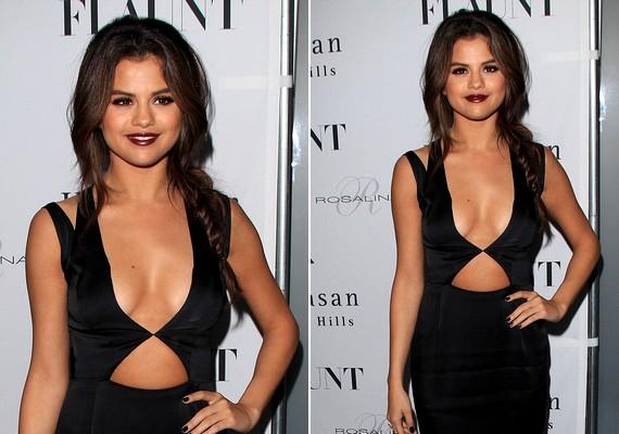 Selena sokat sejtető ruhában, melltartó nélkül érkezett a Flaut magazin partijára.