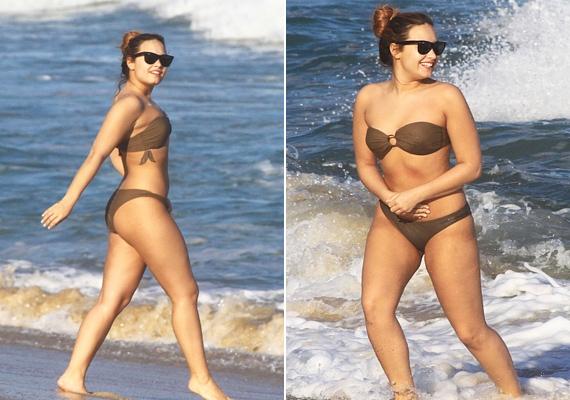 Úgy tűnik, végre Demi Lovatónak is sikerült kibékülnie a testével, barna, pánt nélküli bikinijében kedvére mulatott a Brazíliában, a tengerparton. A középen körkapoccsal összefogott fazon összetolja az oldalt ülő ciciket.