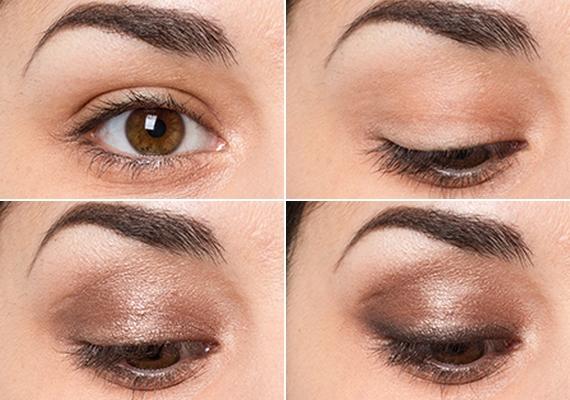 Felfelé ívelő szemBátran válassz világos színű szemhéjpúdert! Alapozd le a szemhéjad, majd fesd ki világos bronz festékkel, és dolgozd el a széleket. Az árnyékolással nem kell sokat bíbelődnöd, mert a szemed felfelé ívelő formája már egyébként is adott, de a külső szemzugnál trükközhetsz egy kicsit sötétebb bronz festékkel.