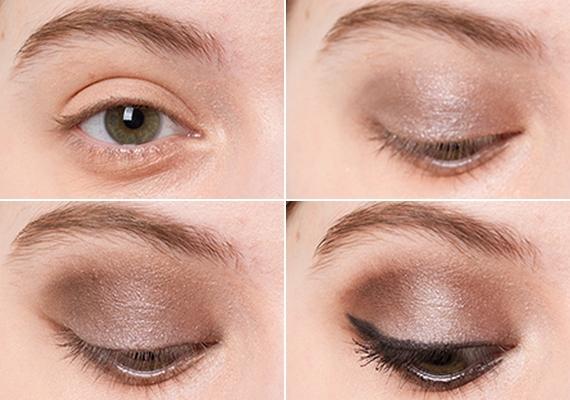 Kerek szemNeked nagyon jól állnak a csillogó sminkek, ezért egy szürkésbarna, csillámos szemhéjpúder jó választás. Fesd ki vele a mozgó szemhéjat, majd egy-két árnyalatnyival sötétebb színnel folytasd a satírozást a szemöldök felé. Egy felfelé ívelő tusvonal a szempilla tövében különleges formát ad a szemednek.