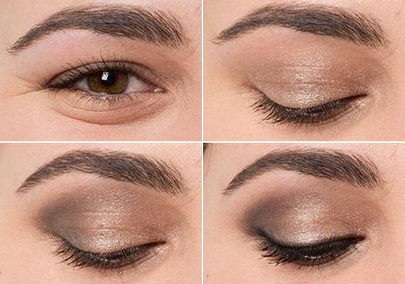 Mandula alakú szem                         Színezd az egész szemhéjat enyhén csillogó arany szemhéjpúderrel, majd a külső szemzugtól befelé haladva árnyékold grafitszürkével. A belső szemzugtól a szemöldökcsontig használj krémszínű festéket, majd a felső szempillák töve mentén húzd ki fekete tussal vagy ceruzával a szemhéjadat!