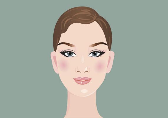 Gyémánt alakú az arcformád, ha az arcod legszélesebb pontját az arccsontok mentén mérted. A homlokod trapéz alakú, az állad keskeny és hegyes. A kontúrozásnál az arányok kiegyenlítése a cél: sötétíts az arccsont alatt a száj sarkáig, az állkapcson, valamint a homlok szélén, a szemöldök végéig. A highlightert a homlok közepén, az orron, az arccsonton, az ajkak felett és az állon használd. Kattints ide a videóért!