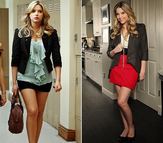Blairhez hasonlóan a Pretty Little Liars Hanna Marinja - Ashley Benson - is inkább az elegáns és nőies öltözékeket részesíti előnyben: szoknya, blúz, blézer és nyaklánc.