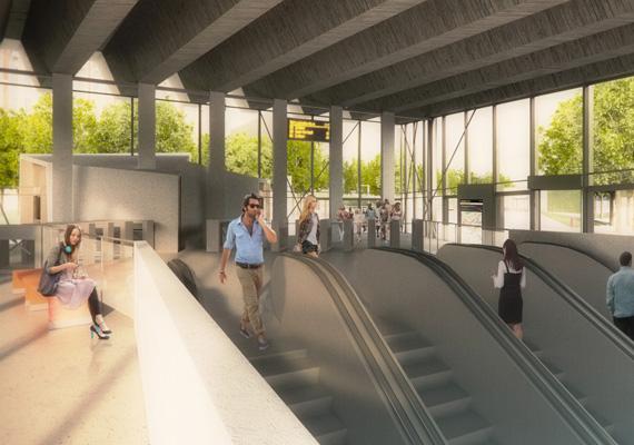 Így nézne ki az új metrómegálló. A Várfok utcai buszmegállók felé mozgólépcsőt és liftet is építenek majd.