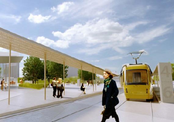Villamosmegálló a felújított Széll Kálmán téren. Rendezettebb, átláthatóbb és modernebb tér kialakítására törekszenek.