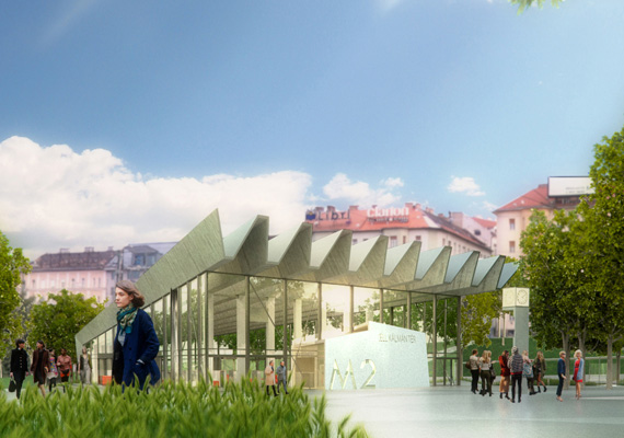 Így néz majd ki a metrólejárat a felszínről. A téren mozgó vízfelület, facsoportok lesznek. A cél, hogy minél több zöld teret alakítsanak ki.