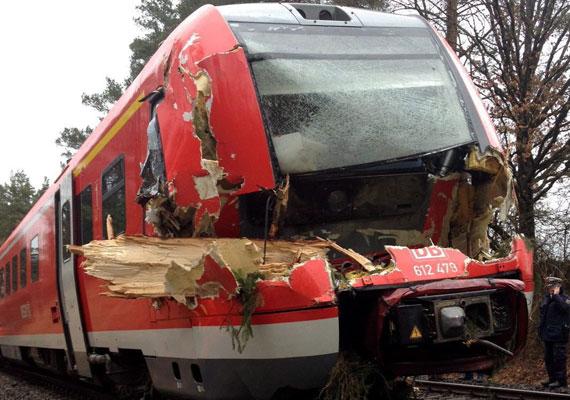 Egy személyszállító vonat összeroncsolt mozdonya Pegnitz közelében. A vonat egy kidőlt fába rohant bele.