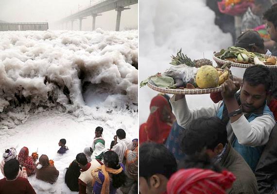 Az emberek most négy napon keresztül a Jamuna-folyó mérgező habjába merülve imádkoznak, esznek és isznak. Elképesztő látvány.