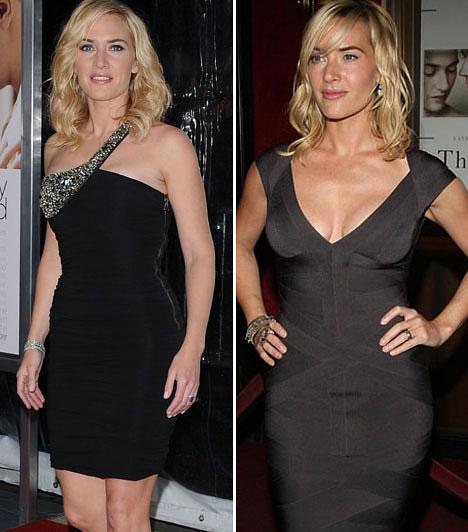 Kate Winslet  Kate Winslet sokakhoz hasonlóan nem az a nádszálvékony típus. Ezért amelett, hogy a ruhák szabásával igyekszik ellensúlyozni alakját, szívesen bújik feketébe, hiszen minden nő tudja, hogy ez a szín slankít.
