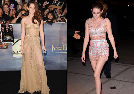Hiába az elegáns szabású és anyagú ruha, az sem feledteti, hogy Kristen teste egészen jól kivehető. A másik összeállításról már nem is beszélve.