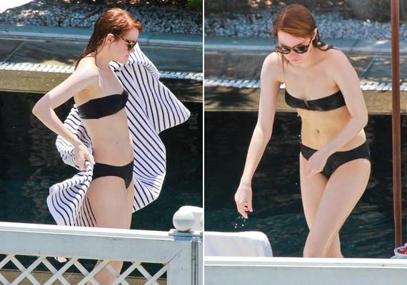 Emma Stone fiús alakjához nem illik a pánt nélküli bikinifelső.