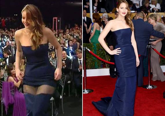 Nem az Oscar volt az első nyilvános balesete, az Emmy-díjátadón valaki rálépett a szoknyájára, ami teljesen leszakadt, alig takarta a színésznő fenekét.