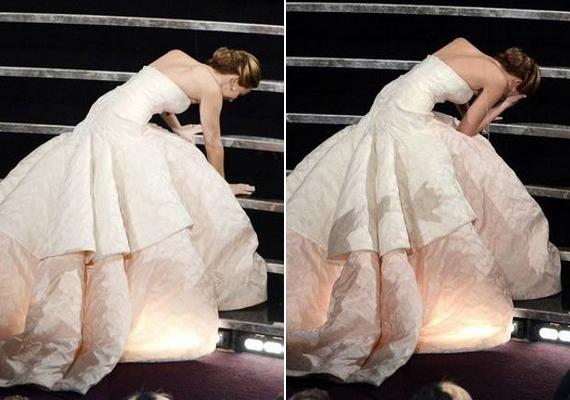 Jennifer Lawrence a tavalyi Oscar-díjátadón botlott meg hatalmas ruhájában, majd az idei eseményen megismételte a bravúrt.