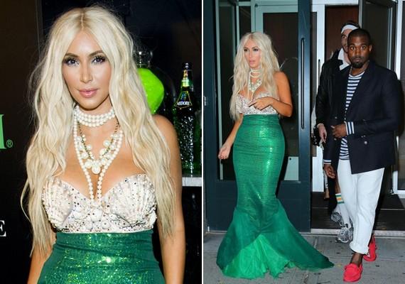 Kim Kardashian szőke sellőnek öltözött, barátja, Kanye West pedig mintha egy matrózt jelenített volna meg.