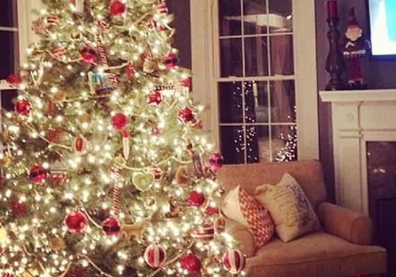 Lucy Hale családi karácsonyfája igazi klasszikus: a piros díszek, az aranyszínű girland és a sima fényfüzér nagyon hangulatos.
