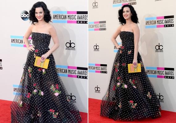 Katy Perry az American Music Awardson vitte el a show-t csodaszép, pöttyös, fekete ruhájával.