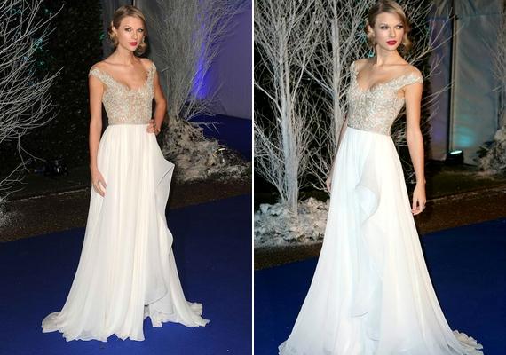 Taylor Swift a Winter Whites-gálán tündökölt könnyed, fehér estélyiben.
