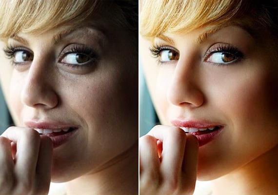 A 2009-ben elhunyt Brittany Murphy szem alatti karikáinak és szürkés arcbőrének nyoma sincs a feljavított fotón.