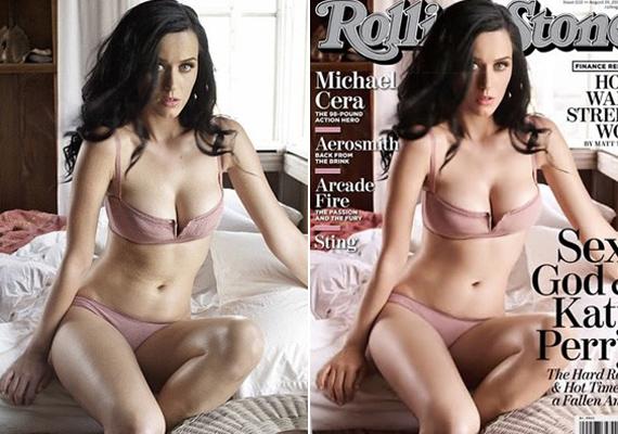 Katy Perry a címlapon úgy fest, mintha a hasa teljesen sima felület lenne, de még a legvékonyabb testalkatú lányoknak is meggyűrődik a bőrük.