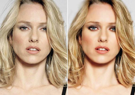 Naomi Watts természetesen is csodaszép, ám a Photoshop még inkább kiemeli vonásait.