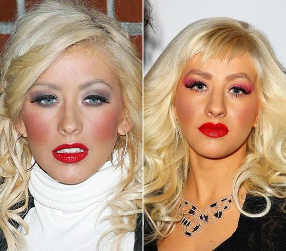 Christina Aguilera finoman szólva is úgy néz ki, mint akinek behúztak egyet.