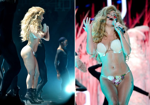 A 27 éves Lady Gaga mindig is imádta a provokatív jelmezeket. Az idei MTV VMA gálán például két kagylót viselt melltartó gyanánt.
