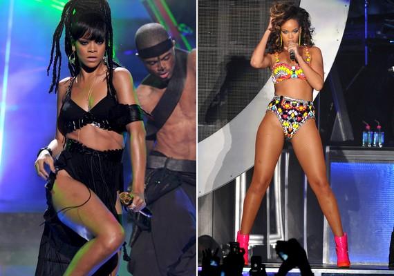 Rihanna sem arról híres, hogy bokáig érő ruhában koncertezne. A 25 éves énekesnő kedveli a kétrészes ruhákat, amiben hasát és lábát is megmutathatja.