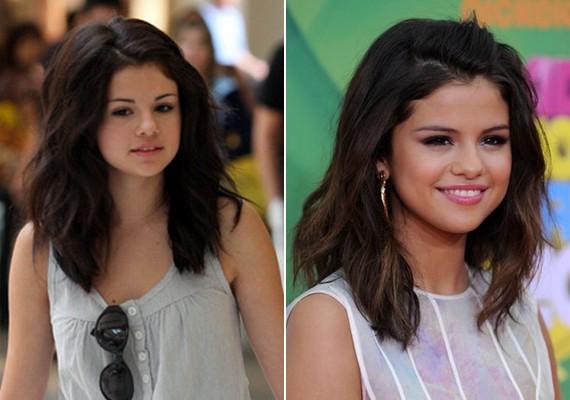 Selena Gomez kislányos arca kifestve és természetesen is szép.