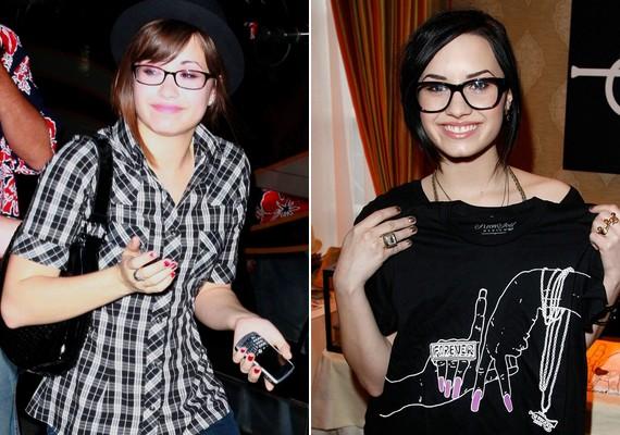 Demi Lovato arcához az egyszerű, klasszikus fazon is jól megy, de csinos a divatosabb, vastag keretes szemüveggel is.
