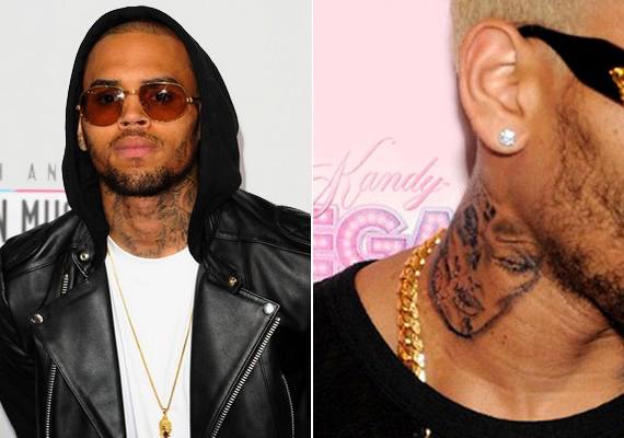 Chris Brown nyakán egy összevert arcú nő látható. A sztár 2009-ben bántalmazta Rihannát - az incidens miatt mindenki arra tippelt, hogy a tetováláson Riri látható, de Brown ezt azóta is tagadja.