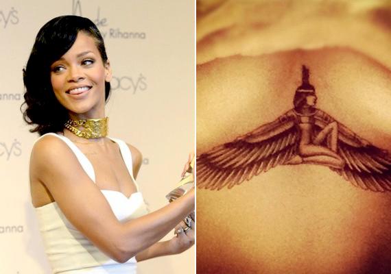 Rihannának is kijutott az érdekes tetoválásokból. A bordáin és a mellkasán egy hatalmas, barna, szárnyas nő csücsül.