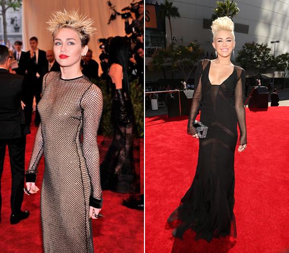 Miley Cyrus Madonna legborzalmasabb korszakát majmolja, pedig jobban járna, ha valami fiatalos stílus után nézne, mert ezekben a ruhákban leginkább egy feketeözvegyre hasonlít.