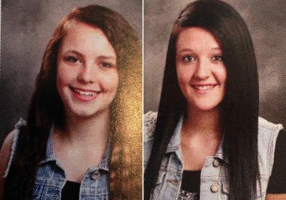 Nem egészen érthető a logikája, hiszen a két lány szinte teljesen ugyanolyan ruhát visel, ám a bal oldali tanuló fotóját békén hagyta.