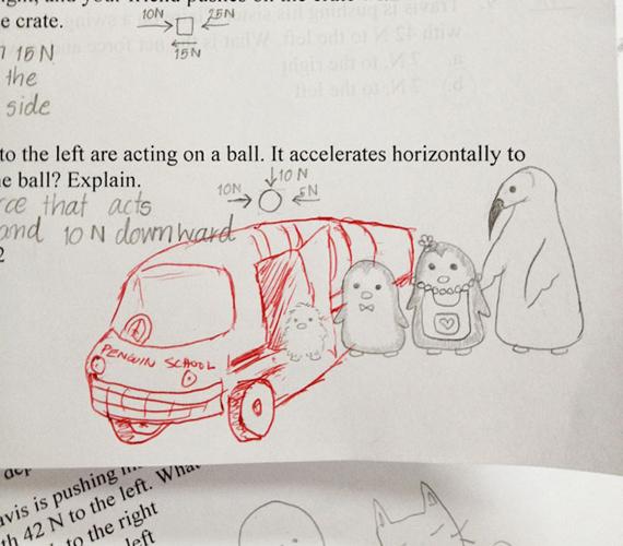 Az egész pingvincsaládnak jut hely ebben a pingvinbuszban.