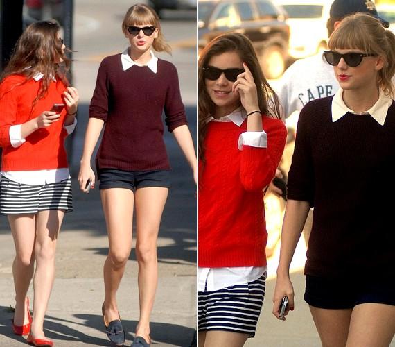 Egyik barátnőjével összeöltöztek: mindketten rövidnadrágban, fehér blúzban és kötött pulóverben sétáltak.