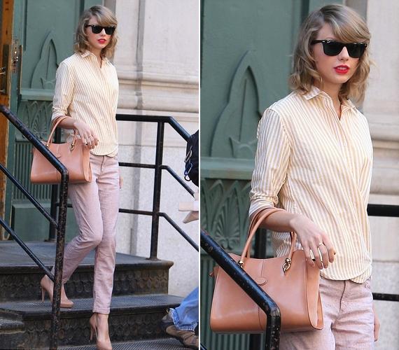 Taylor Swift egy igazán csajos, barackszínű összeállításban lépett az utcára a minap.