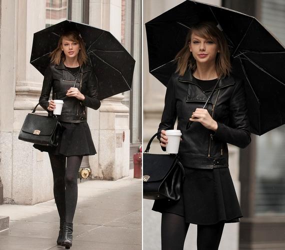 Esős időben talpig feketében sétált.