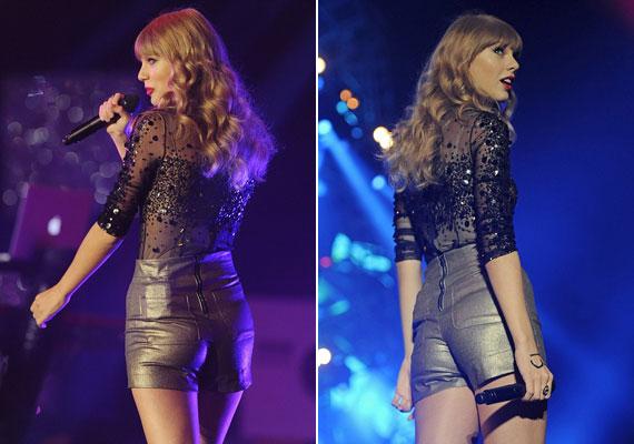 Az énekesnő szemmel láthatóan a tőle szokatlanul szexi szerelésben is jól érezte magát.