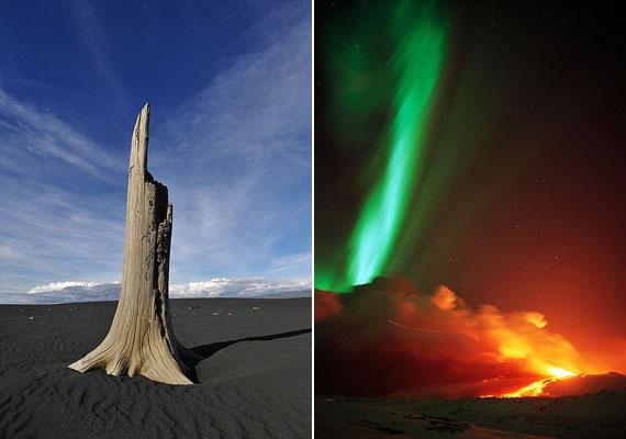 Kiszáradt fa és vulkáni homok balra, sarki fény és hömpölygő láva a Hekla-hegyen 1991-ben, jobbra.