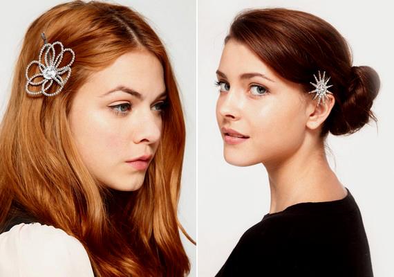 Gyönyörű hajékszerek jöttek divatba. A hajtűre rögzített csillámos, apró minták igazán nőies megjelenést kölcsönöznek.