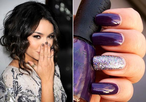 Idén nagyon trendi, ha a gyűrűsujjad körmét más színre fested ki, mint Vanessa Hudgens, vagy ellátod nagy mennyiségű csillámmal.