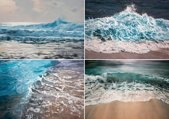 A jéghegyek mellett szívesen festi meg a háborgó tengert is.