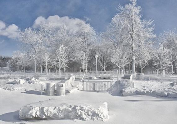 Hóval borított a Niagara-vízesés Állami Park.