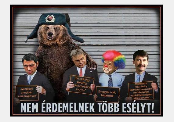 """Íme, a CÖF plakátjának egy Fidesz-ellenes változata, melyen a medve Orbán Viktor Vlagyimir Putyinnal közös bratyizására utal. Az államfő, Áder János általában ezzel a szöveggel hárította el a hozzá visszaküldött törvényeket: """"Megállapítom, hogy a törvény alkotmányos szempontból nem kifogásolható, visszaküldésének egyetlen feltétele sem adott."""""""