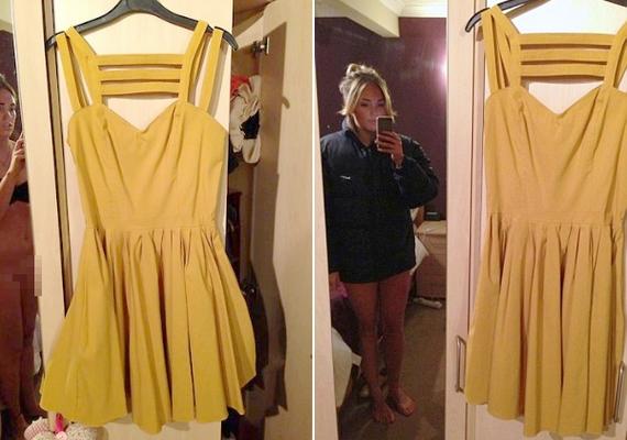 Az angolAimi Jones nem csak az eladásra kínált ruhát osztotta meg a nagyvilággal. Amikor észrevette a bakit, furcsa logikával gyorsan készített egy másik képet, amin már visel valamilyen felsőruházatot, de ezen meg a hirdetett ruha nem látszik jól.
